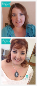 before and afters, airbrush makeup, thinning hair, redhead, hairstyles, wedding looks